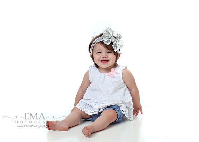 Madeline- Metallic Silver Messy Bow