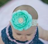 Samantha- Aqua Headband