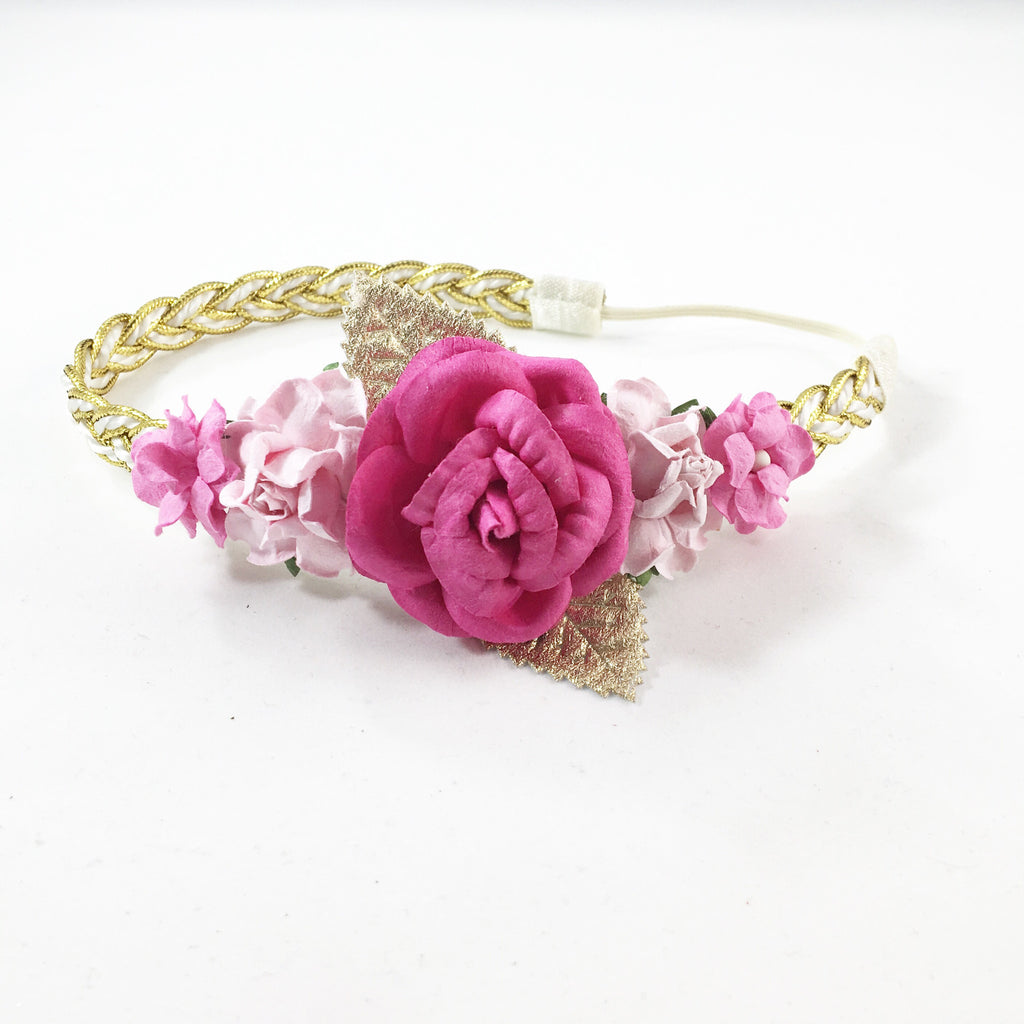 Valentina-Hot Pink, Pink, and Gold Headband