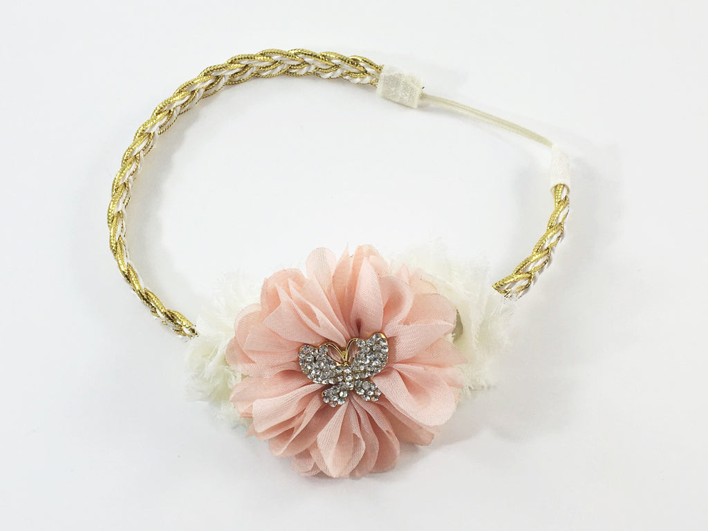 Gabriella- peach and cream butterfly headband,