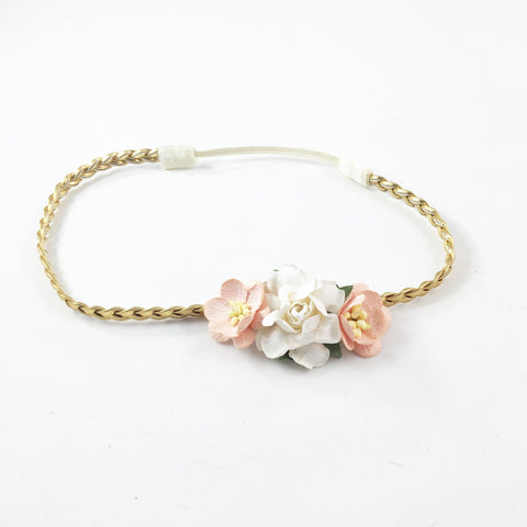 Grace- Peach and Cream flowers on gold Headband