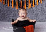 Brandi- Orange, Black, and White Braided Headband