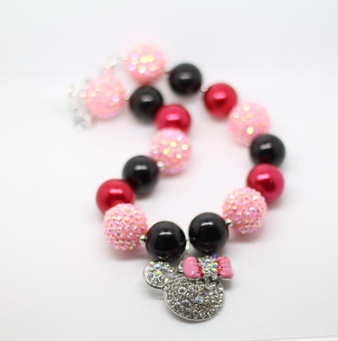 Minnie Necklace- red and pink