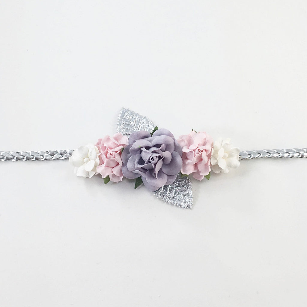 Valentina- Gray,Pink, and White Headband