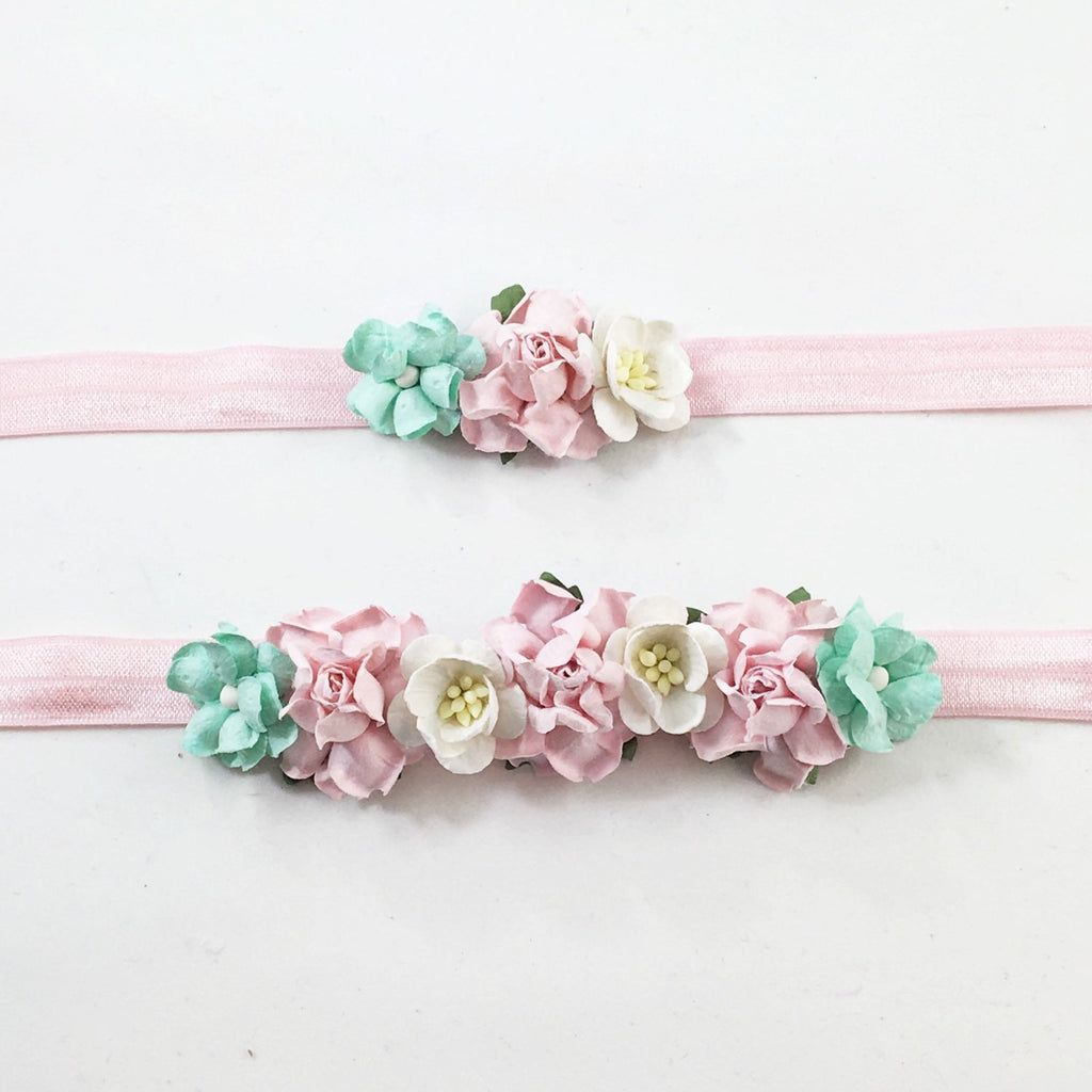 Mommy and Me- Pink, Cream, and Mint flowers on Pink Headband
