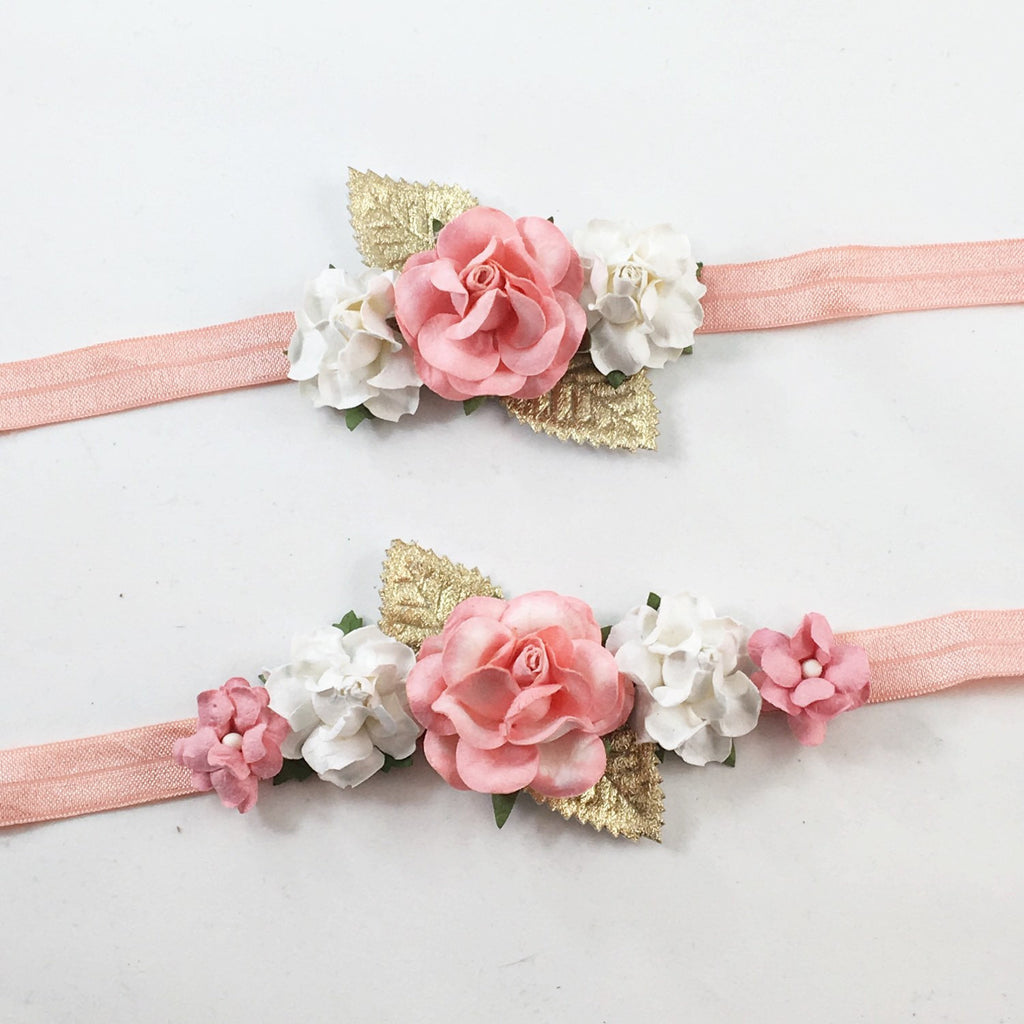 Mommy and Me- Coral and Cream Headband With Gold Leaves