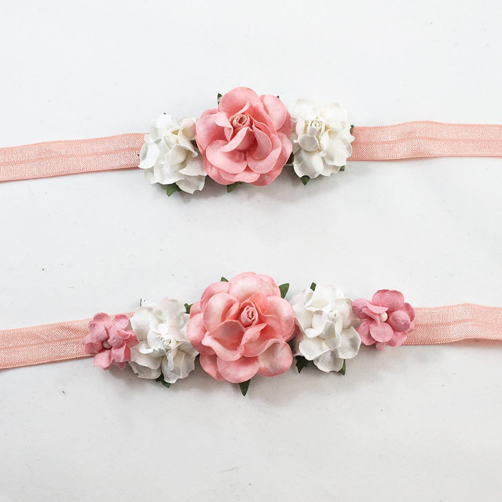 Mommy and Me- Coral and Cream Headband