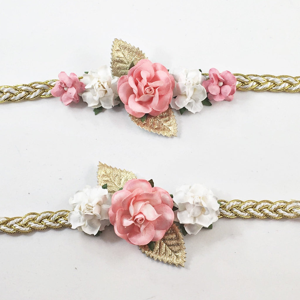 Mommy and Me- Coral and Cream Headband on gold braided band