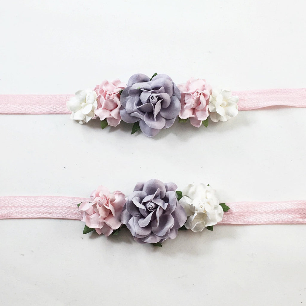 Mommy and Me- Gray, Pink and Cream Headband