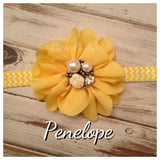 Penelope- Yellow Flower with Pearl and Rose Stone