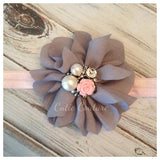 Penelope- Gray Headband with pearl and pink rose