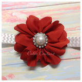 Penelope- Red Flower with Pearl