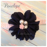Penelope- Navy Headband with pearl and pink rose