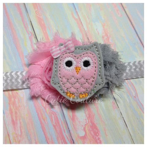 Owl Headband- Pink and Gray
