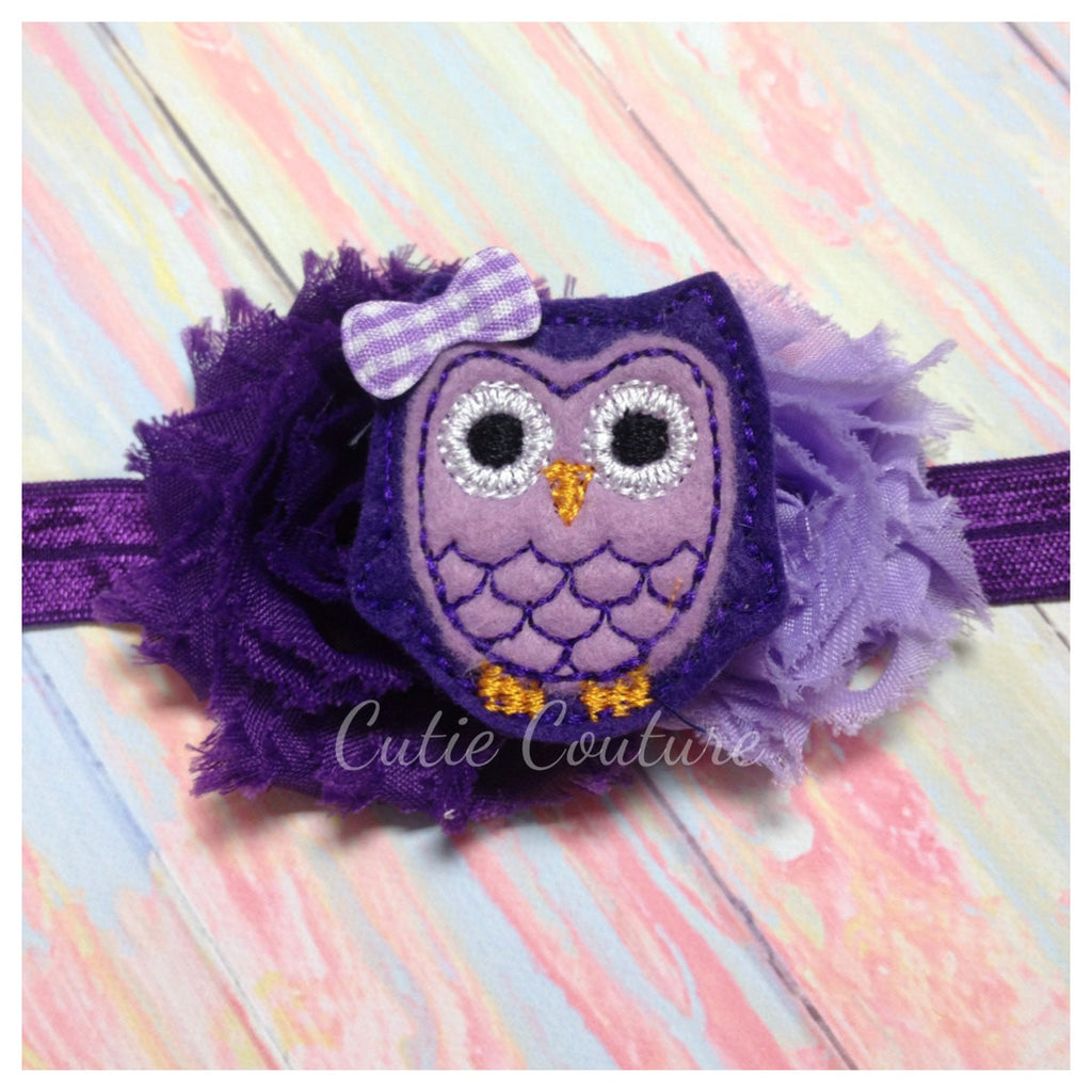 Owl Headband- Purple and Lavender Shabby Owl Headband