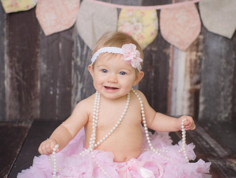 Zoe- Pink Headband with pearls
