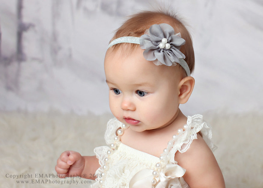 Zoe- Gray Headband with pearls