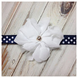 Penelope- White flower on polka dot elastic