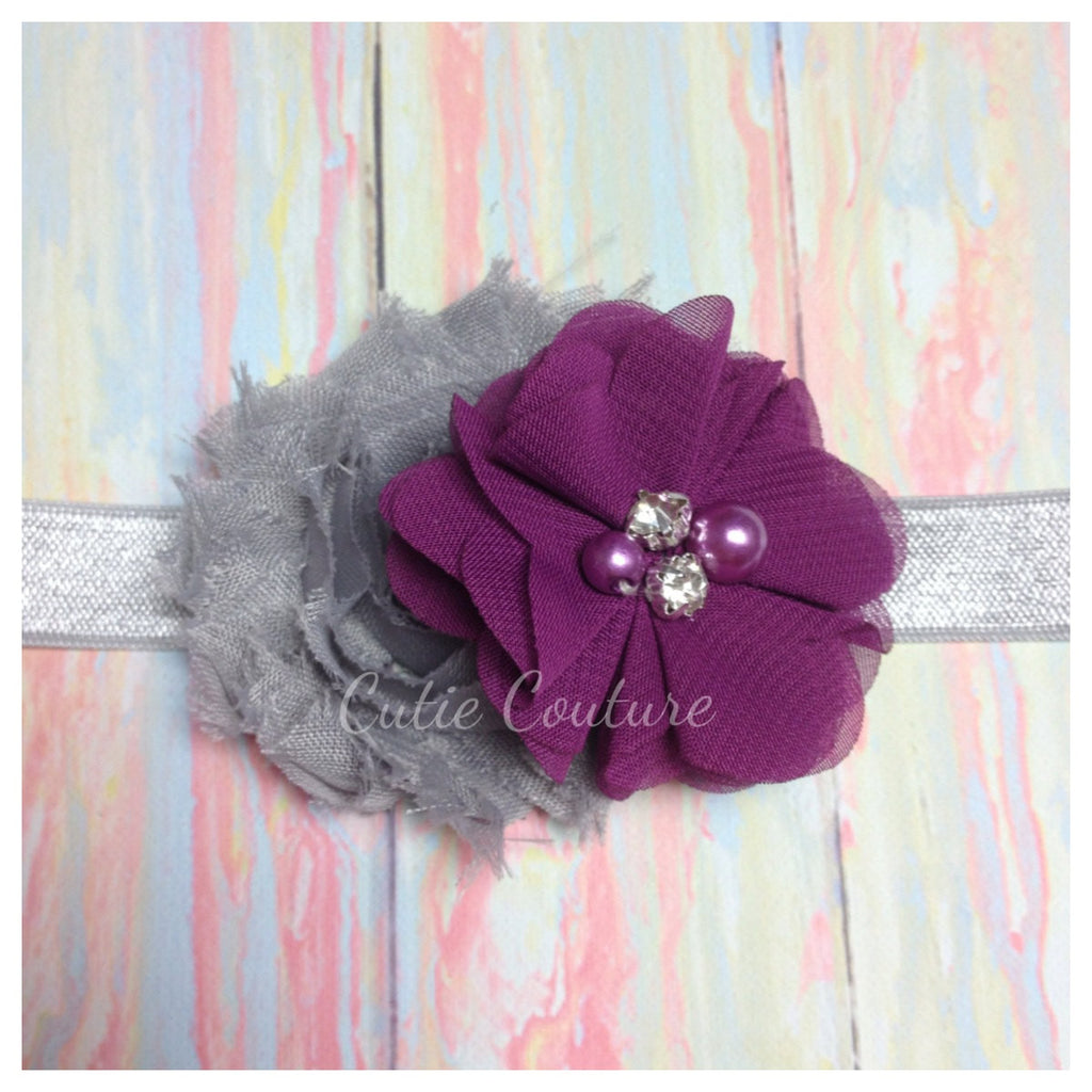 Camilla- Gray and Plum Headband
