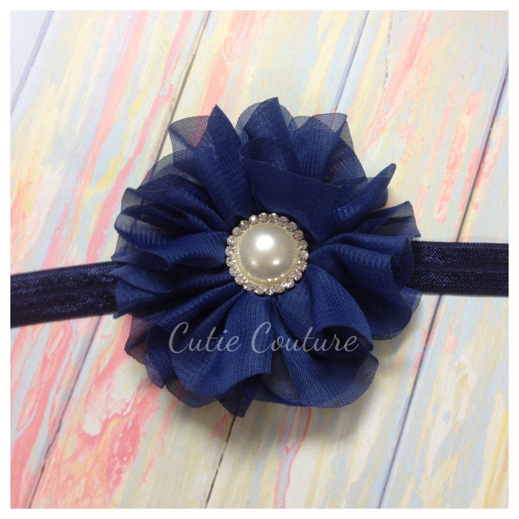 Lyla- Navy Headband with Pearl