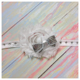 Sabrina- White Shabby Flower with silver bow
