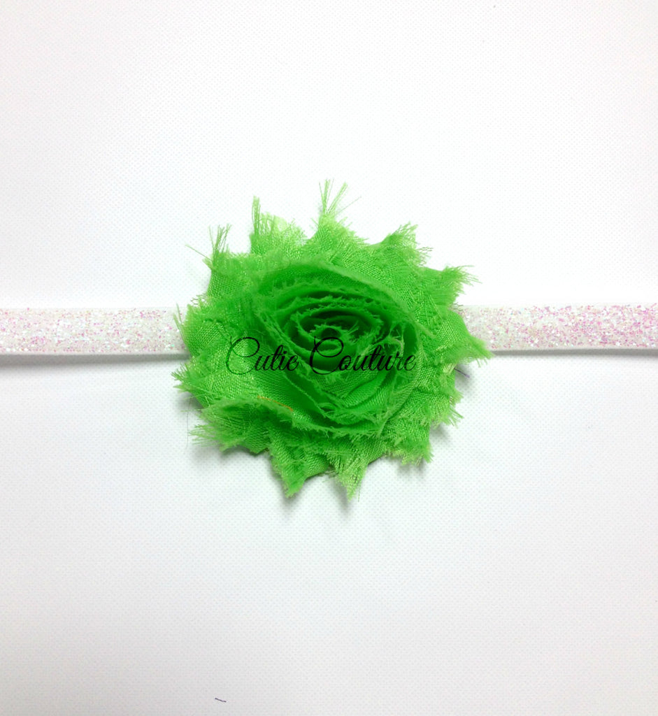 Stella- Bright Green Shabby Headband