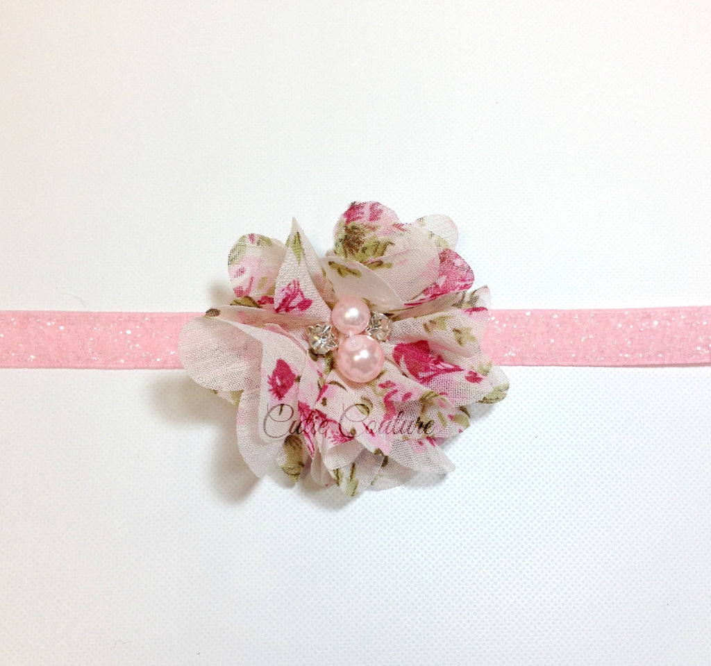 Cammie- Pink Floral Headband or Clip