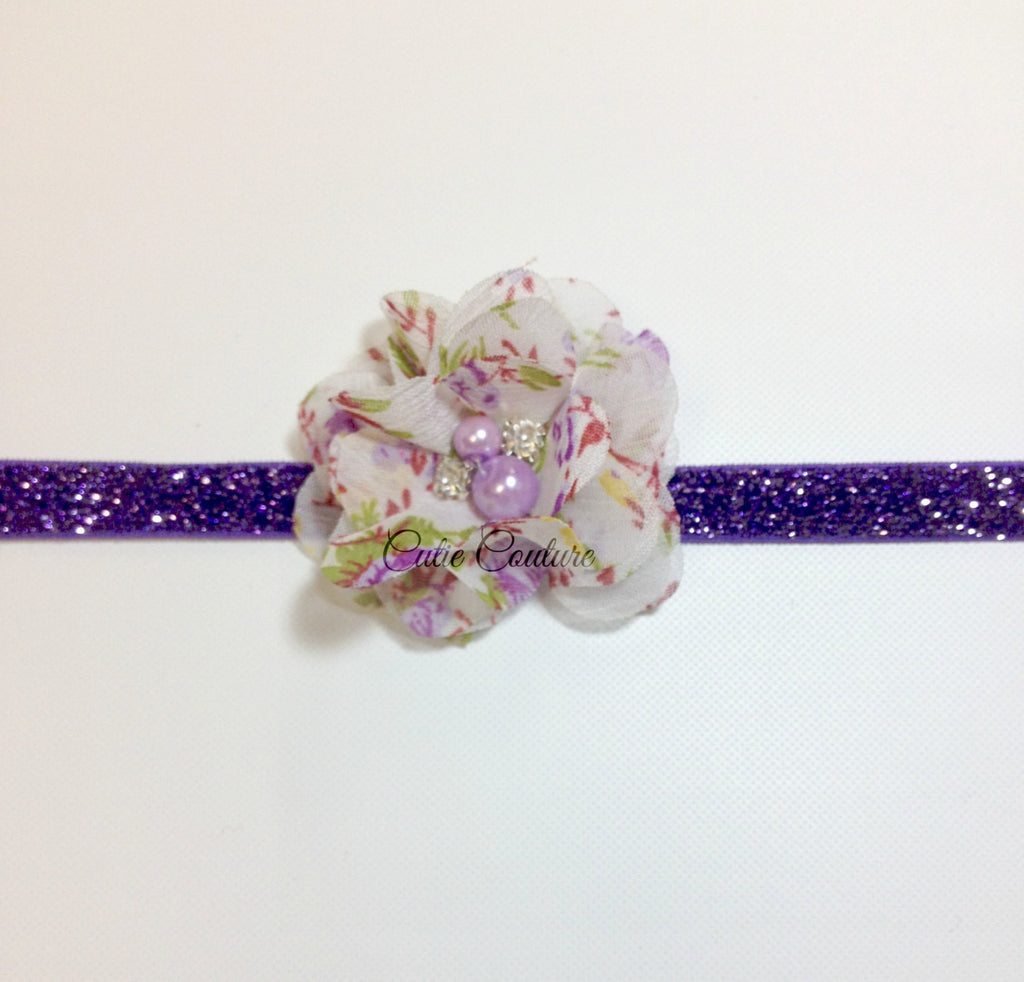 Cammie- Purple Floral Headband or Clip