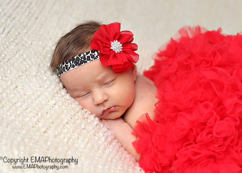 Blakely- Red flower on leopard elastic