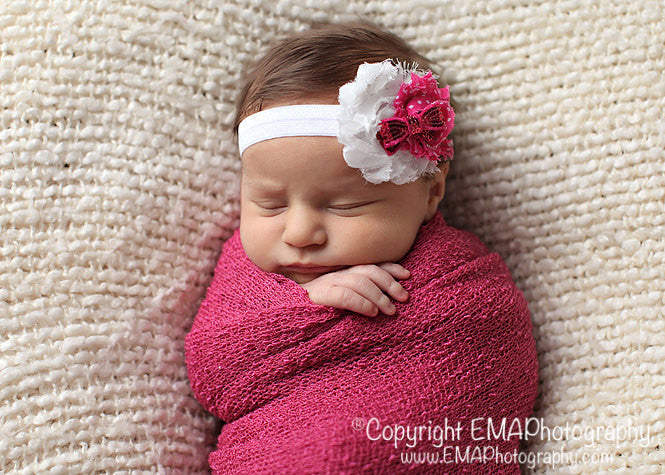 MacKenzie- White and Hot Pink Polka Dot Headband