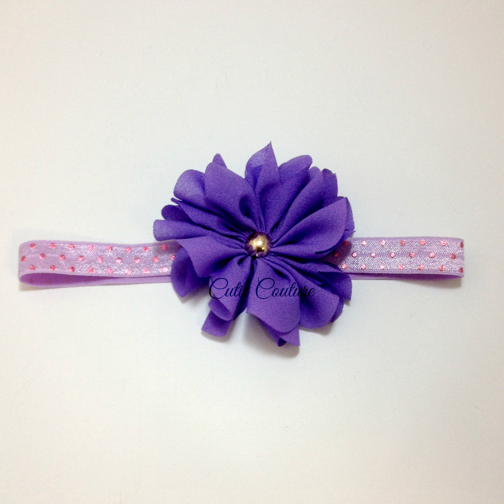 Penelope- Purple and Pink Polka Dot Headband
