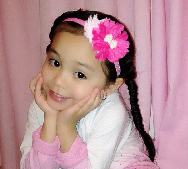 Gabriella- Pink and Hot Pink headband with pearl bow