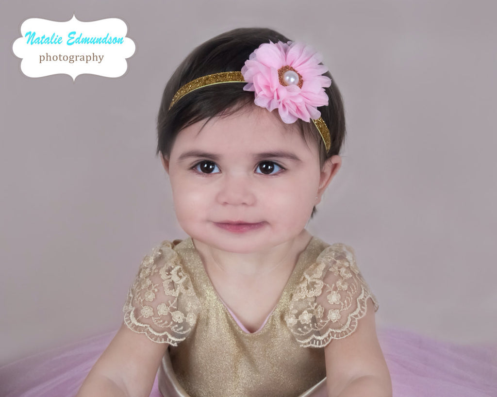 Luciana- Pink and Gold Headband