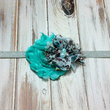 Camilla- Teal and Teal Floral Headband