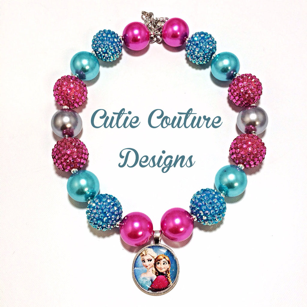 Frozen Bubblegum Necklace- Pink Anna and Elsa