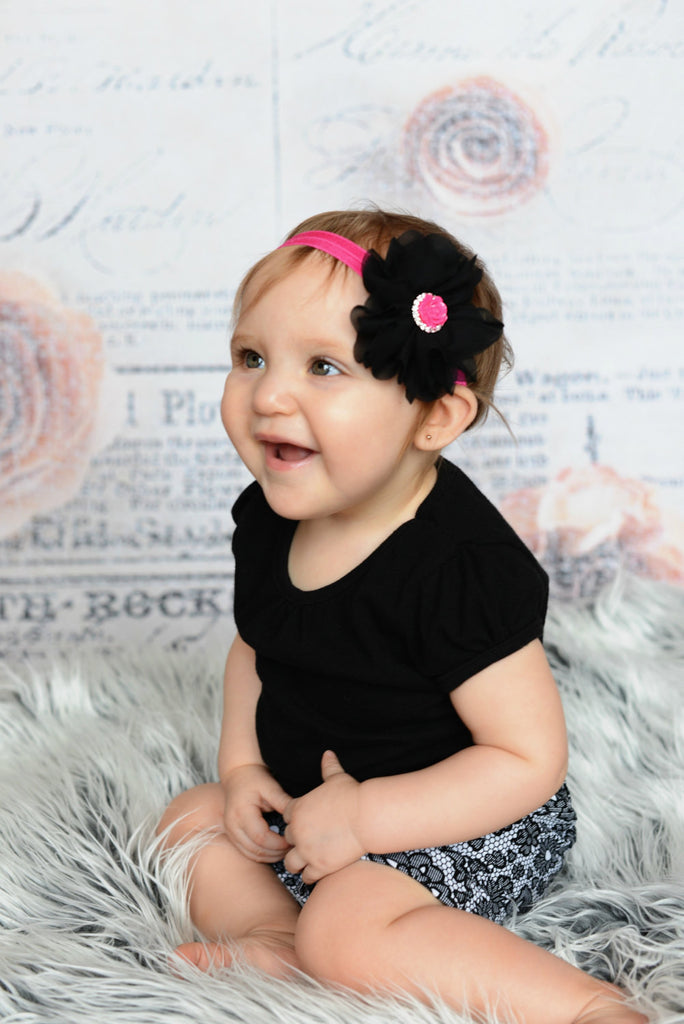 Lyla- Black flower with hot pink rose