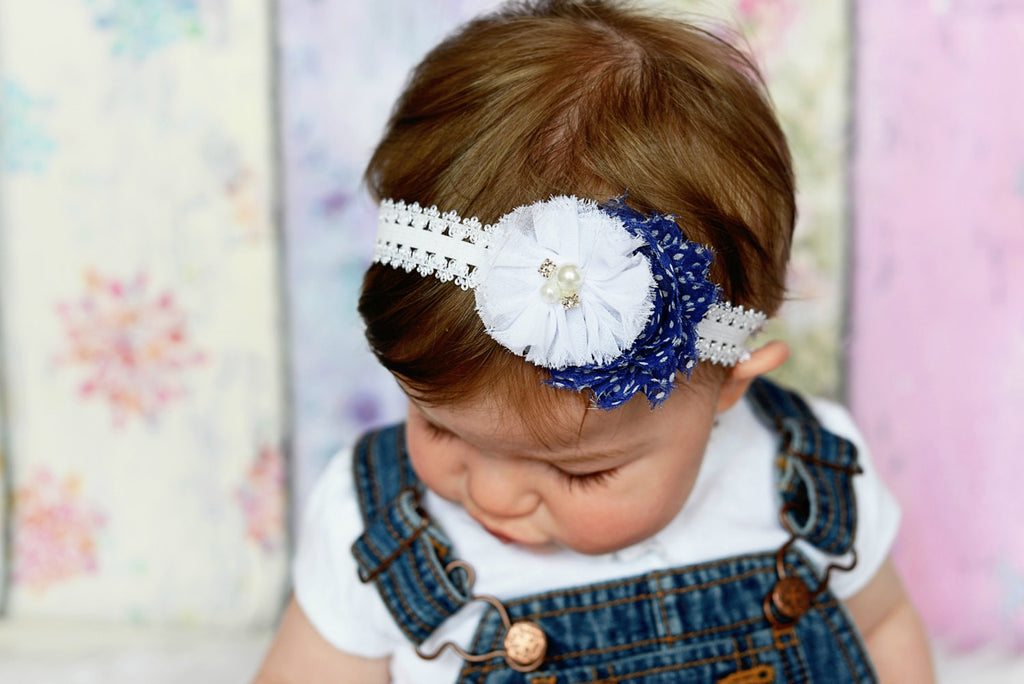 Camilla- Navy Polka Dot and White Headband
