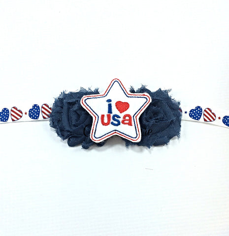 Jasmin- Navy I Love USA Headband