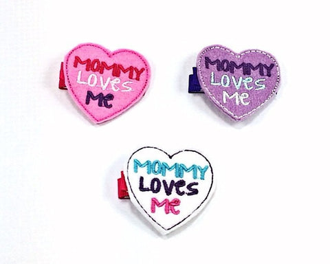 Mommy Loves Me Heart Clips or Headband