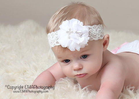 Baptism Headband- White