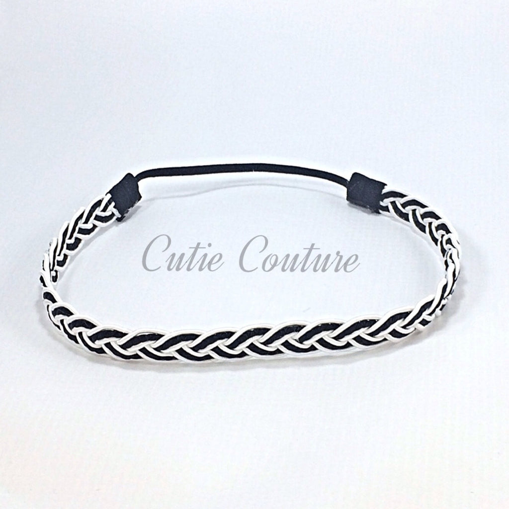 Black and White Braided Headband