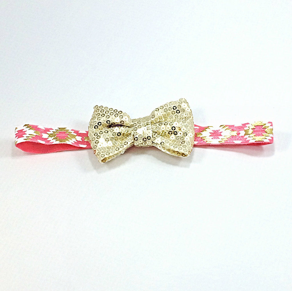 Liza- Gold Sequin Bow on Aztec Elastic
