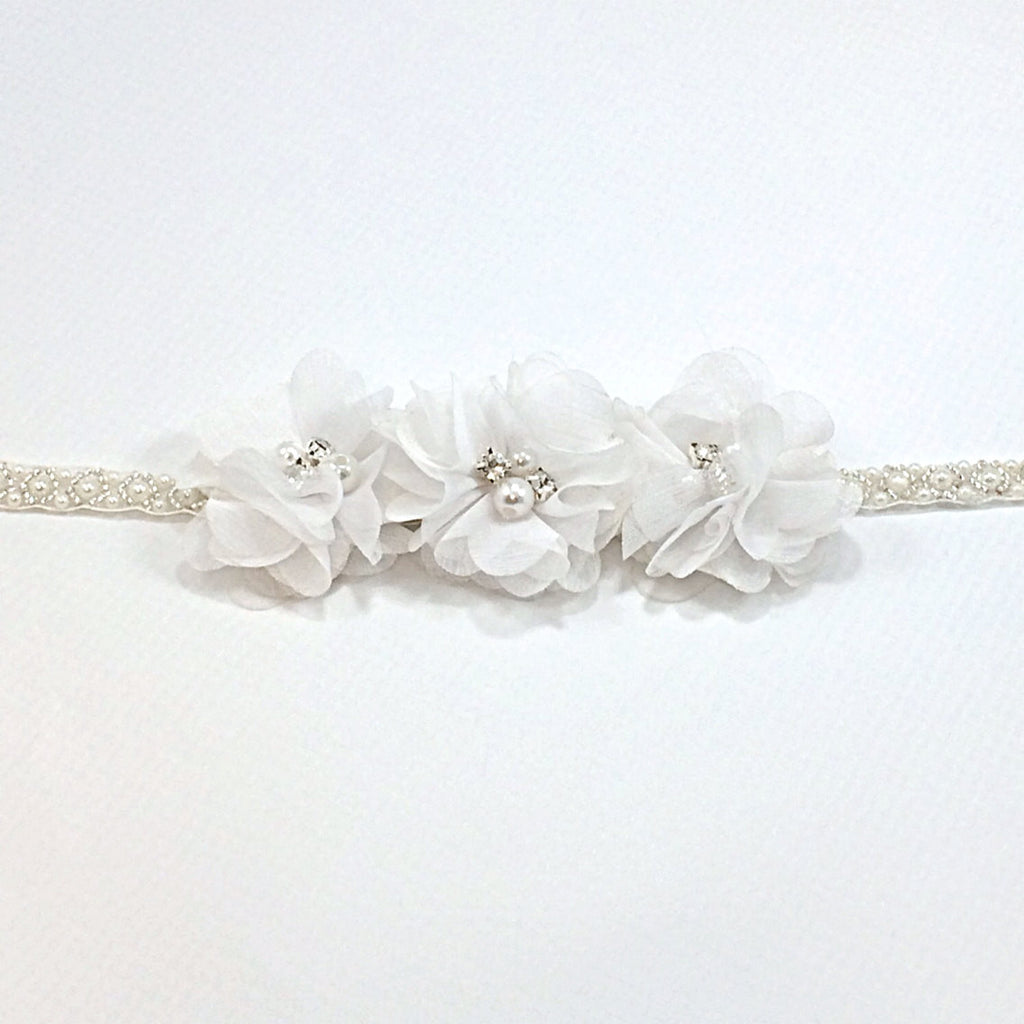 Carmella- White Flowers on pearl and beaded headbands