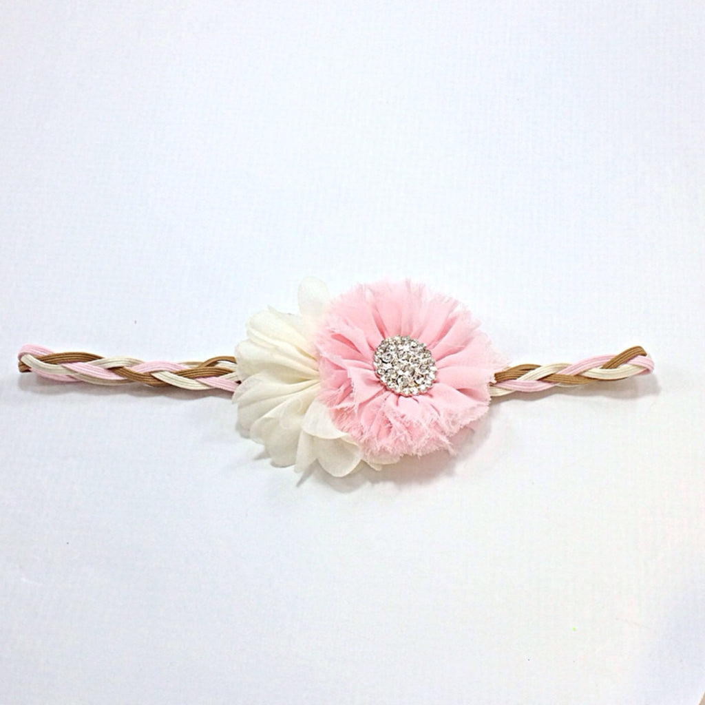 Trisha- Pink and Ivory on a pink, ivory and tan braided headband