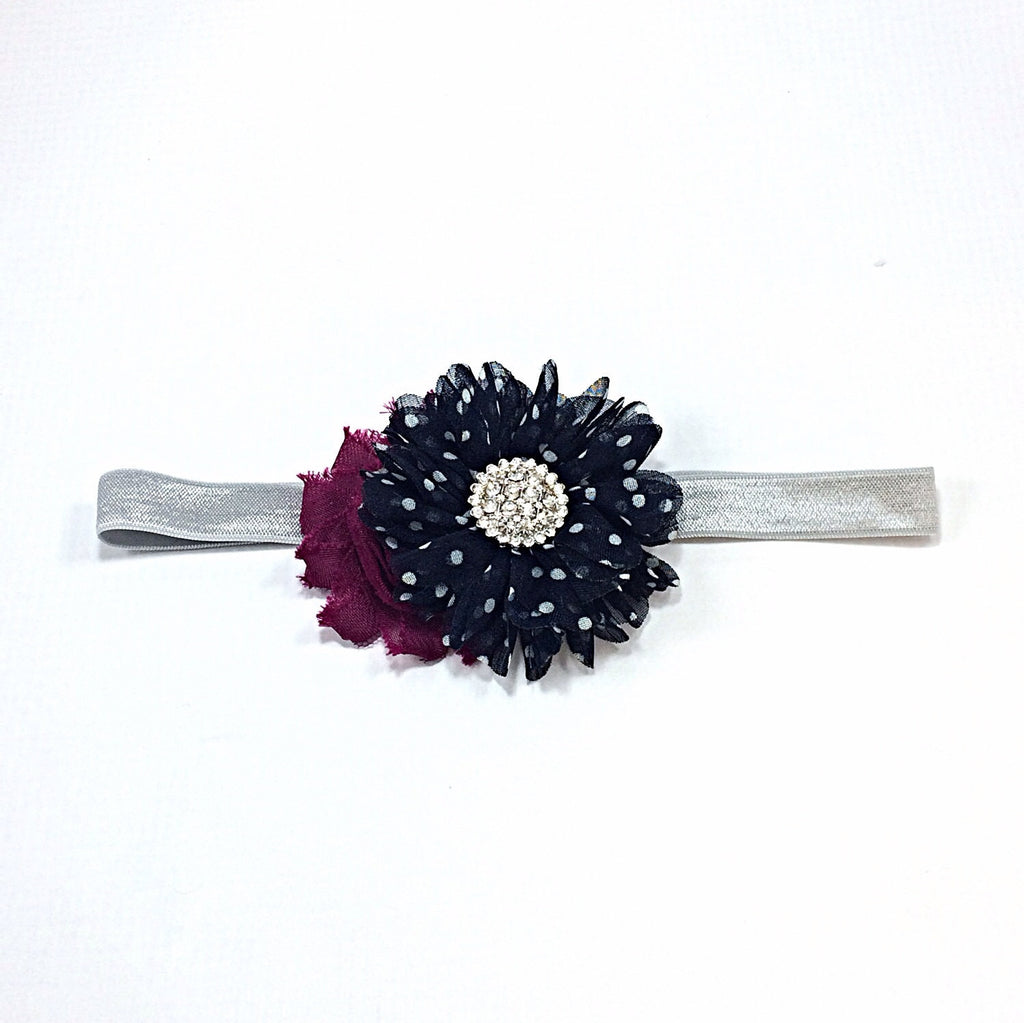 Gabriella- Plum and Navy polka dot headband