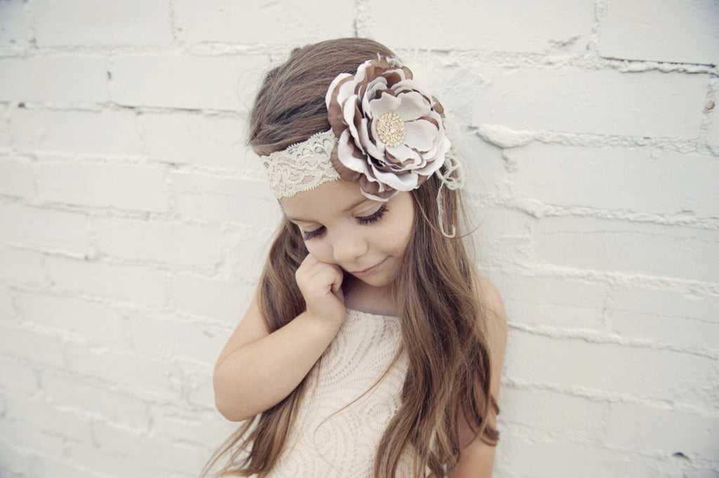 Samantha- Ivory and Brown feather headband