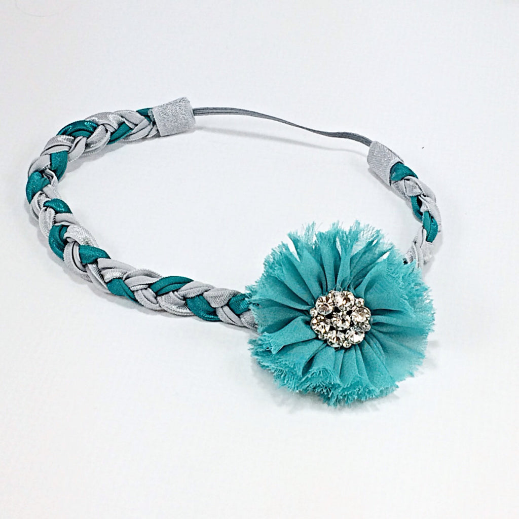 Gemma- Teal flower on a teal and silver braided headband