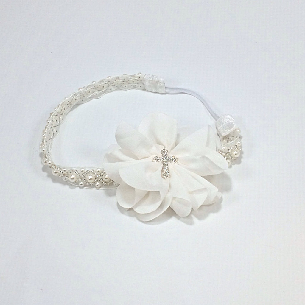 Penelope- White Flower with Cross on Pearl Headband