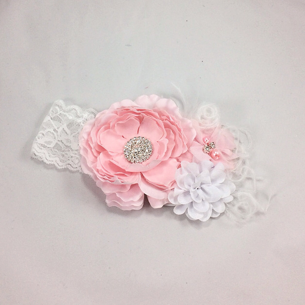 Rosanna- Pink and White Headband with feather