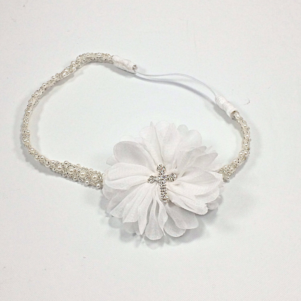 Luciana White Flower With Cross On Pearl And Beaded Headband
